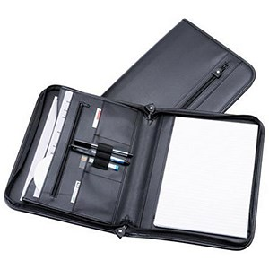 Image of 5 Star Zipped Conference Folder with 3 Compartments / Leather-Look / A4 / Black