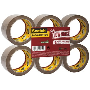 Image of Scotch Packaging Tape / Low Noise / 48mmx66m / Buff / Pack of 6