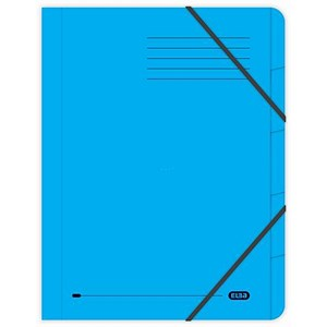 Image of Elba Boston Part File Pressboard Elasticated 5-Part Foolscap Blue Ref 100090166 [Pack 5]