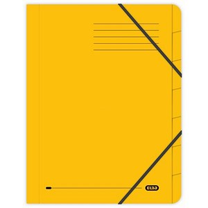 Image of Elba Boston Part File Pressboard Elasticated 7-Part Foolscap Yellow Ref 100090310 [Pack 5]