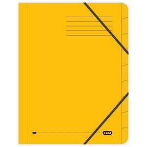 Image of Elba Boston Part File Pressboard Elasticated 9-Part Foolscap Yellow Ref 100090175 [Pack 5]