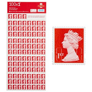 Image of Royal Mail 1st class postage stamps – 100 per pack