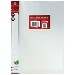 Image of Concord Display Book / 20 Pockets / A4 / Clear / Pack of 12