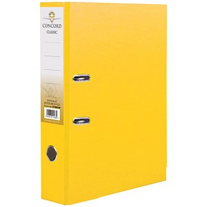 Image of Concord Classic A4 Lever Arch Files / Printed Lining / 70mm Spine / Yellow / Pack of 10
