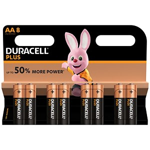 Image of Duracell Plus Power Alkaline Battery / 1.5V / AA / Pack of 8