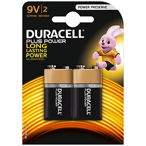 Image of Duracell Plus Power MN1604 Alkaline Battery / 9V / Pack of 2