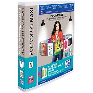 Image of Elba Polyvision Maxi Presentation Binder / 4 D-Ring / 40mm Spine / 25mm Capacity / Clear / A4 / Pack of 10