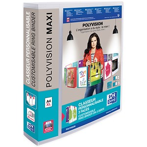 Image of Elba Polyvision Maxi Presentation Binder / 4 O-Ring / 55mm Spine / 40mm Capacity / A4 / Clear / Pack of 10