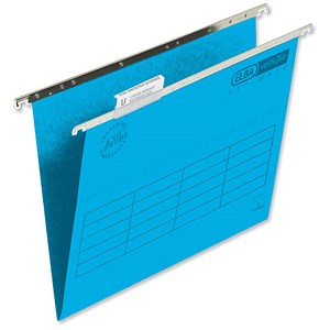 Image of Elba VerticFiles Ultimate Suspension Files / V Base / 15mm Capacity / Foolscap / Blue / Pack of 50