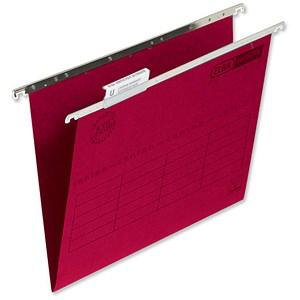 Image of Elba VerticFiles Ultimate Suspension Files / V Base / 15mm Capacity / Foolscap / Red / Pack of 50