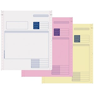 Image of Sage Compatible 3 Part Invoice NCR Paper / Tinted Copies / Pack of 750