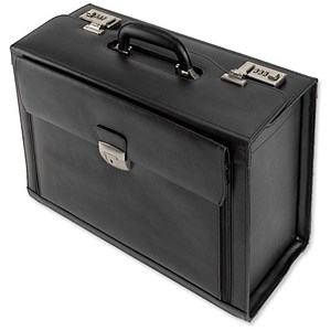 Image of Alassio Ferrara Pilot Case with Laptop Compartment / 2 Combination Locks / Leather / Black