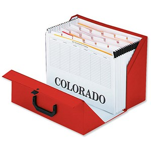 Image of Rexel Colorado Expanding Box File / A-Z / Foolscap / Red