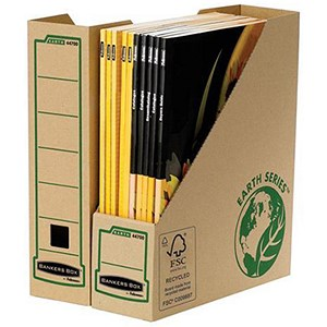 Image of Fellowes Bankers Box Earth Magazine File / Recycled / Self-Assembly / A4+ / Pack of 20