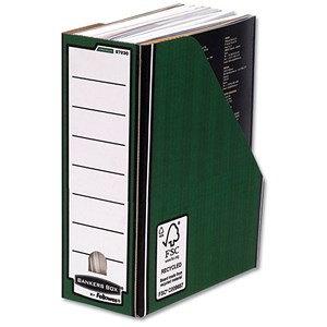 Image of Fellowes Bankers Box Premium Magazine File / Fastfold / A4+ / Green & White / Pack of 10