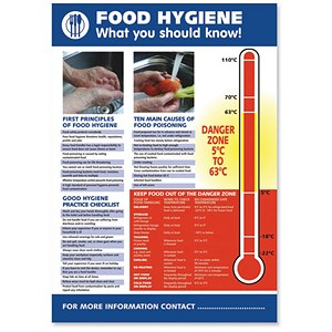 Image of Stewart Superior Food Hygiene Laminated Guidance Poster W420xH595mm Ref HS107