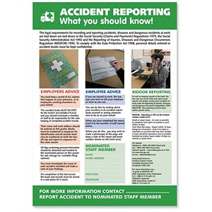 Image of Stewart Superior Accident Reporting Laminated Support Poster W420xH595mm Ref HS108