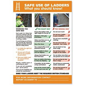 Image of Stewart Superior Safe Use of Ladders Laminated Guidance Poster W420xH595mm Ref HS109