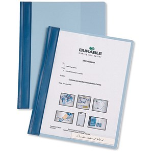 Image of Durable Management Flat Files / Plastic / Clear Front / A4 / Plus Blue / Pack of 25