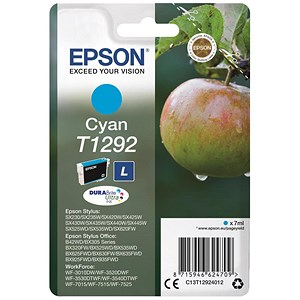 Image of Epson T1292 Inkjet Cartridge DURABrite Apple L Capacity 7ml Cyan Ref C13T12924011
