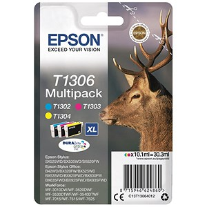 Image of Epson T1306 XL Inkjet Cartridge Multipack - Cyan, Magenta and Yellow (3 Cartridges)