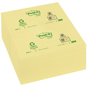 Image of Post-it Recycled Notes / 76x127mm / Yellow / Pack of 12 x 100 Notes
