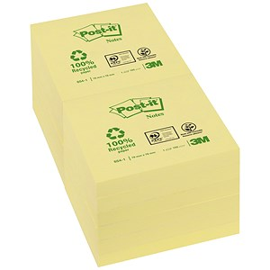 Image of Post-it Recycled Notes / 76x76mm / Yellow / Pack of 12 x 100 Notes