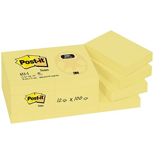 Image of Post-it Recycled Notes / 38x51mm / Yellow / Pack of 12 x 100 Notes