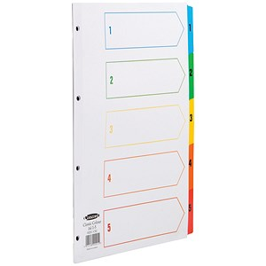 Image of Concord Index Dividers / 1-5 / Multicoloured Mylar Tabs / A4 / White
