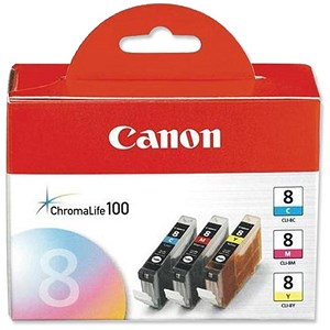 Image of Canon CLI-8 Inkjet Cartridge Pack - Cyan, Magenta and Yellow (3 Cartridges)