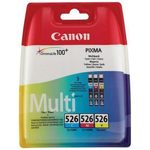Image of Canon CLI-526 Inkjet Cartridge Pack - Cyan, Magenta and Yellow (3 Cartridges)