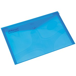 Image of Rexel Popper Wallet Folders / Polypropylene / A4 / Translucent Blue / Pack of 5