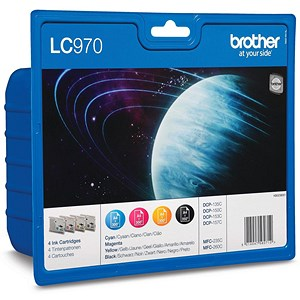 Image of Brother LC970VALBP Inkjet Cartridge Value Pack - Black, Cyan, Magenta and Yellow (4 Cartridges)