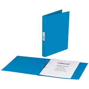 Image of Rexel Budget Ring Binder Semi-rigid / 2 O-Ring / 40mm Spine / 25mm Capacity / A4 / Blue / Pack of 10