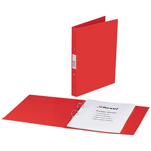 Image of Rexel Budget Ring Binder Semi-rigid / 2 O-Ring / 40mm Spine / 25mm Capacity / A4 / Red / Pack of 10