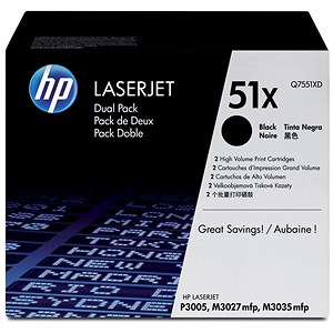 Image of HP 51X Black Laser Toner Cartridge (Twin Pack)