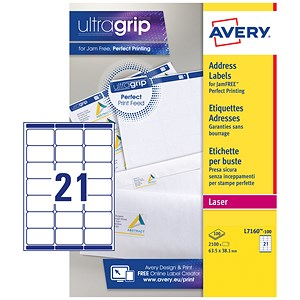 Image of Avery Laser Addressing Labels / 21 per Sheet / 63.5x38.1mm / White / L7160-100 / 2100 Labels