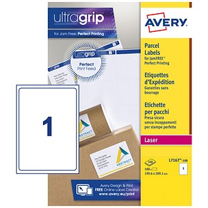 Image of Avery BlockOut Jam-free Laser Addressing Labels / 1 per Sheet / 199.6x289.1mm / White / L7167-100 / 100 Labels