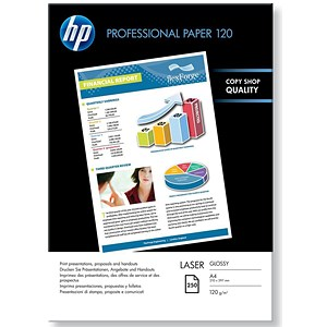 Image of HP A4 Professional Glossy Laser Photo Paper / White / 120gsm / 250 Sheets