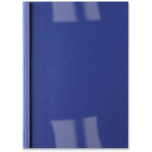 Image of GBC Thermal Binding Covers / 1.5mm / Front: Clear PVC / Back: Royal Blue Leathergrain / A4 / Pack of 100