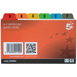 Image of Reinforced Guide Cards / A-Z / 127x76mm / White with Multicoloured Tabs