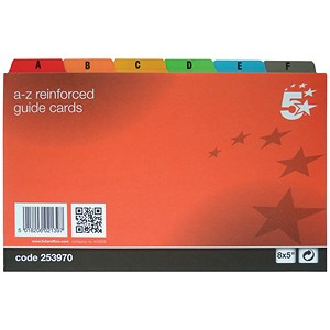 Image of 5 Star Guide Cards / A-Z / 203x127mm / White with Coloured Tabs / Pack of 24