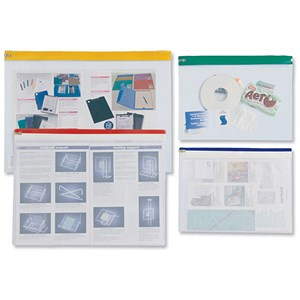 Image of Zip Pouch Lightweight Polythene Clear with Coloured Seal A4 / Assorted / Pack of 25