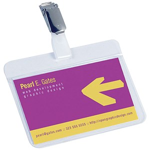 Image of Durable Name Badges / Self-Laminating / Self-Adhesive / 54x90mm / Pack of 25