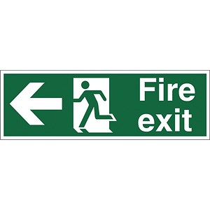 Image of Stewart Superior Fire Exit Sign Man and Arrow Left 450x150mm Self-adhesive Vinyl Ref SP120SAV