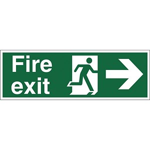 Image of Stewart Superior Fire Exit Sign Man and Arrow Right 450x150mm Self-adhesive Vinyl Ref SP121SAV