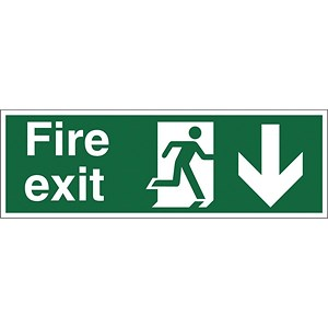 Image of Stewart Superior Fire Exit Sign Man and Arrow Down 450x150mm Self-adhesive Vinyl Ref SP124SAV