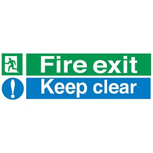Image of Stewart Superior Fire Exit Sign Keep Clear 450x150mm Polypropylene Ref SP126PVC