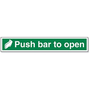 Image of Stewart Superior Sign Push Bar to Open 450x75mm Self-adhesive Vinyl Ref SP127SAV
