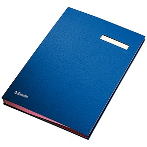 Image of Signature Book with Blotting Card / 340x240mm / 20 Compartments / Blue
